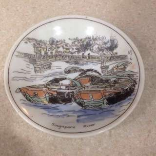 Rare 1988 vintage Singapore River Multi Bank advertising Art Painting plate
