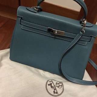 Hermes Kelly 32 (blue jean)