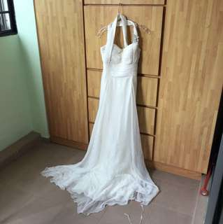High End white evening dresss used before fashion show