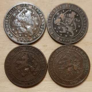 1900s Netherlands 1 Cent Coins