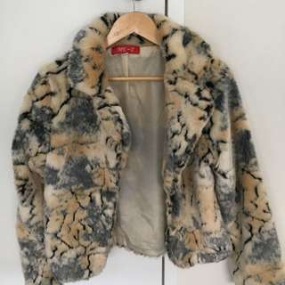 Faux fur coat animal print female size small adults