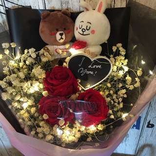 Preserved Fresh Roses Bouquet - 3 Stalk 5cm Ecuador Rose with Brown and Cony(Free Lighting)