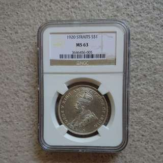 PMG Graded MS63 Straits Silver $1