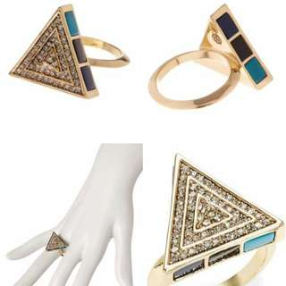 LOVE MONTH SALE!!! House of harlow 1960 Pave turquoose Triangle Cocktail Ring with Earrings
