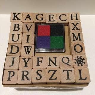 MUJI 無印良品 字母印 A-Z stamps 連4色印台