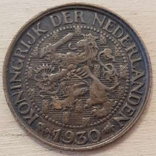 1930 Netherlands 1 Ce t Coin