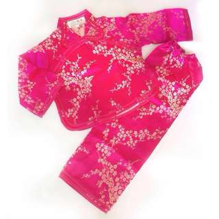 CNY Baby Girl / Toddler Traditional Chinese Costume with Embroidery (Bright Pink)