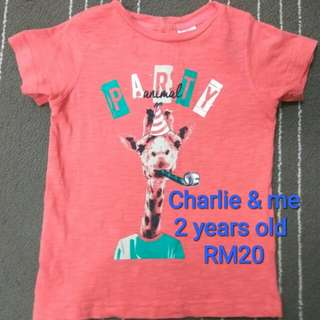 Charlie & me T-shirt for 2 years old (Preloved)