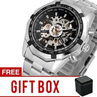 Winner Men's Hollow Engraving Automatic Skeleton Stainless Steel Watch  | Brand New | Cash On Delivery