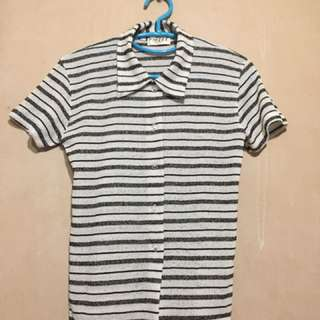Black and White Striped Polo