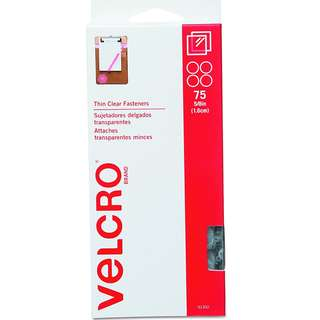 "BNIB: VELCRO Brand - Sticky Back - 5/8"" Coins, 75 Sets - Clear"