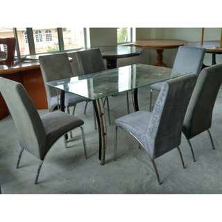 Meja Makan Dining Table Set (3 x 5 feet) with 6 Chair * F41 A * G46 C
