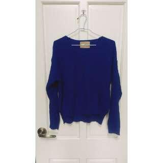 🚚 藍色前短後長毛衣