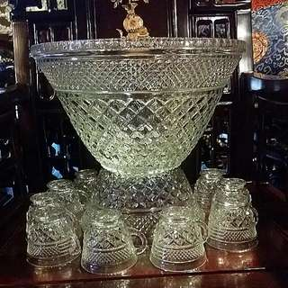 Vintage Anchor Hocking Wexford Crystal Punch Bowl With Stand And 18  Cups New In Box