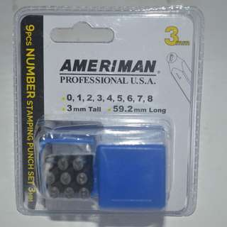 9pcs. Number Stamping Punch 3mm