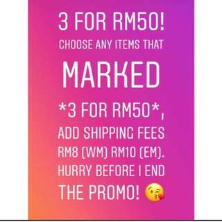 3 FOR RM50 PROMO