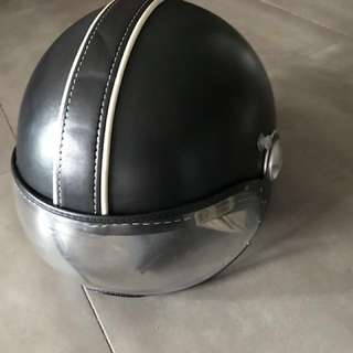 Momo design Motorcycle Helmet wrapped in leather