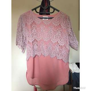 Two Tone Lace Top