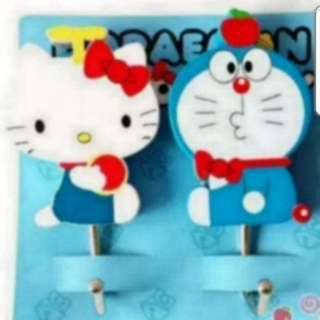 In Stock Doramon And Hello Kitty Design Wall Hanger 1 Set