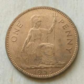Britain 1953 Penny Unc Coin