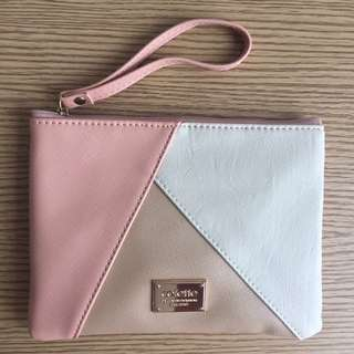 Colette Hayman Pink Rose Gold White Clutch Pouch