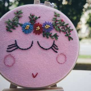 Keep smiling floral embroidery
