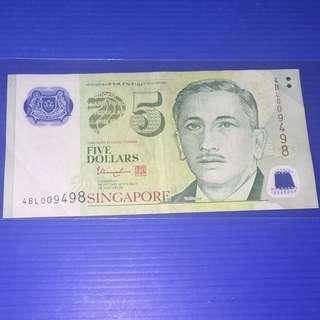 Singapore Portrait $5 Fancy No. 4BL009498(九世九发)
