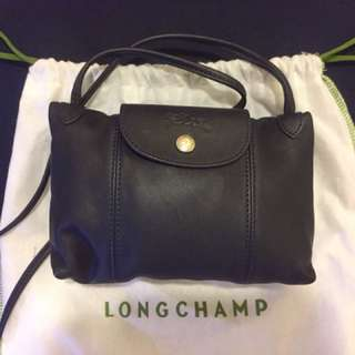 longchamp羊皮·肩背斜背小包·深藍色