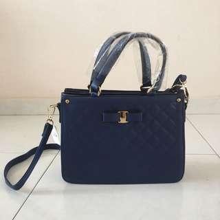 BN bow leather messenger bag