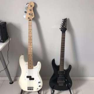 Fender Standard Precision Bass Guitar & Ibanez S Series S570-BK Electric Guitar