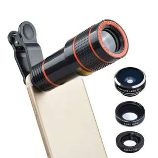 4 In 1 Smartphone Camera Lens Kit - Macro Lens, Telephoto Lens, Wide Angle Lens, Fisheye Lens, Tripod, Carry Case (CVAIA-F025)