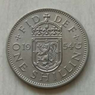 Britain 1954 Shilling Unc Coin With Luster