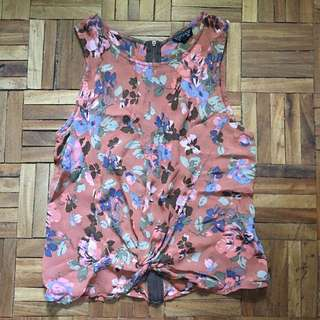 TOPSHOP NUDE FLORAL KNOT DETAIL TOP