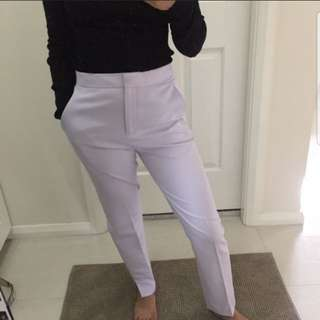 Lilac tailored cigarette dress pants