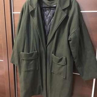 寬鬆墨綠大衣