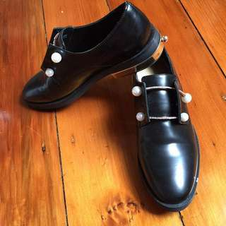 **price drop** Black slip on shoes with Chrystal and pearl bead design