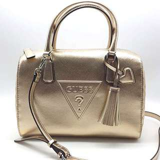 Authentic GUESS two-way bowling bag with long strap in Rose Gold