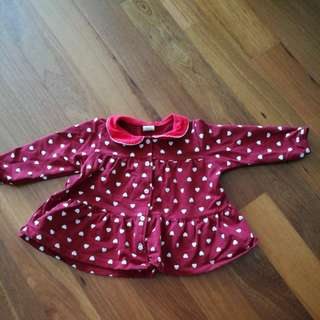 Girl's Jacket in Red & small hearts size 2-3 years old