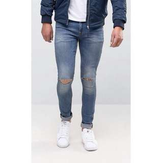 #Huat50Sale ASOS Super Skinny Jeans With Knee Rips