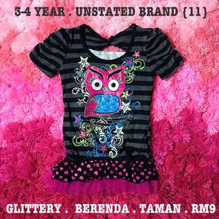 Owl Glittery Lacey Top