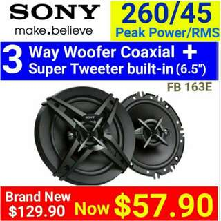 """CAR SPEAKER - Sony 3 Way 260Watts coaxial SPEAKER with Mid Range + Built-in dome tweeter + Super Tweeter(16cm/6.5"""" size. ) Usual Price: $ 129.90. Special Price: $54.90 ( Brand New In Box  & Sealed) Model: FB-163E."""