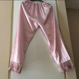 Pink silk pyjama pants