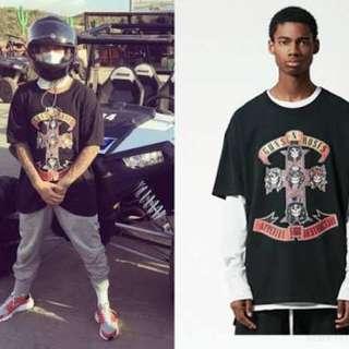 Band shirts Slayer and Guns and Roses Justin Bieber