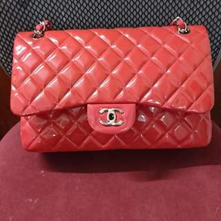 100% real 90%new Chanel  classic double flag Jumbo