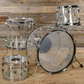 Fibes Crystalite 12/13/16/22 4pc Vintage Drum Kit Clear 1970s
