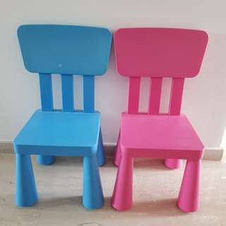 Ikea blue and pink chairs
