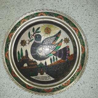 vintage copper brass Jerusalem City of Peace plate hanging