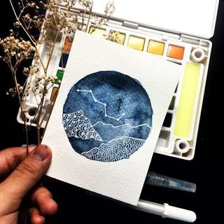 4x6 inch Customisable Watercolour Circle Cards