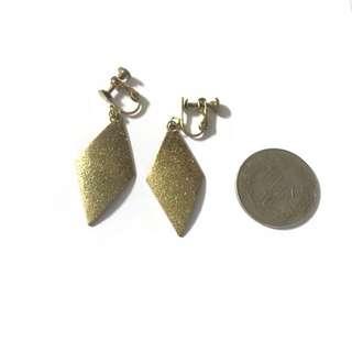 🚚 菱形黃銅耳環夾