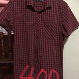 Checkered polo red black